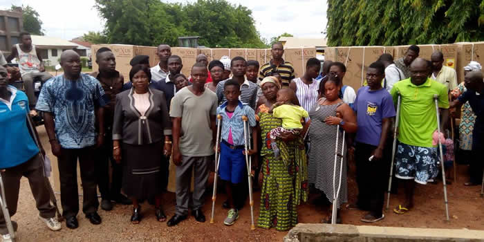 Hon Catherine Reckling with PWDs in Sekyere South